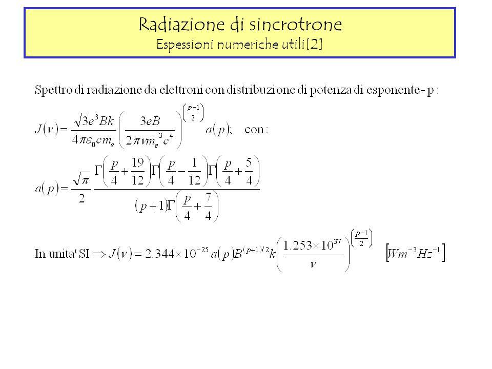 Radiazione di sincrotrone Espessioni numeriche utili[2]